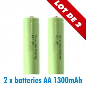 2 batteries piles solaire rechargeables LR6 AA - Ni-MH 1300 mAh