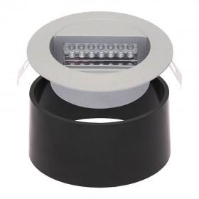 Spot rond fixe couleur aluminuim DORA LED J01 encastrable et son boitier de montage