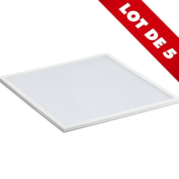Lot de 5 Dalles 60x60 40W Bordure blanche