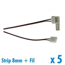 Lot de 5 connecteurs pour ruban 8mm + 15cm de fil