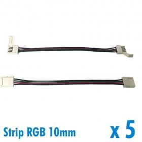 Lot de 5 connecteurs pour ruban RGB 10mm + 15cm de fil + connecteur