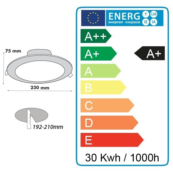 Encastrable plafond 30W CYCLONE SWITCH 3 Couleurs