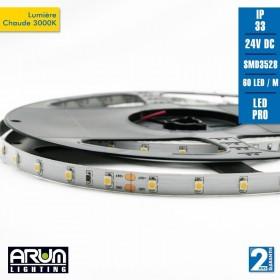 Rouleau de 5m PRO 24V 3528 60LED/M BLANC CHAUD