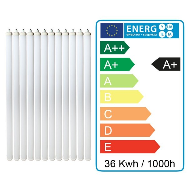 Lot de 12 Boitiers LED Etanche 120cm 36W Ip65 Blanc Froid - 6000k