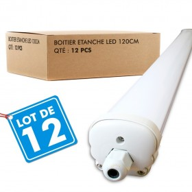Lot de 12 Boitiers LED Etanche 120cm 36W Ip65 Blanc Froid - 6000k