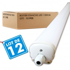 Lot de 12 Boitiers LED Etanche 150cm 48W Ip65