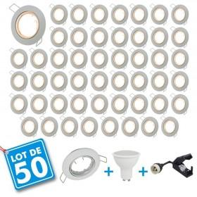 Lot de 50 Spot encastrable orientable blanc avec GU10 LED de 5W eq 40W