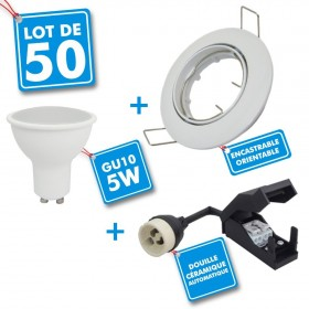 Lot de 50 Spot encastrable orientable blanc avec GU10 LED de 5W eq 40W