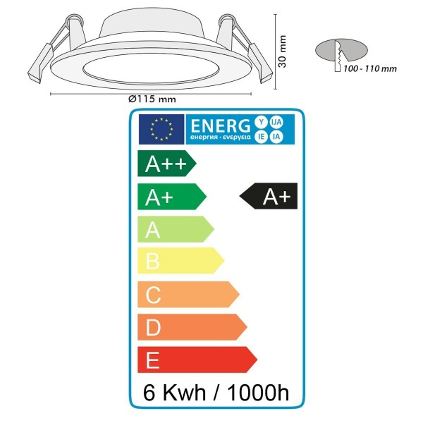 Spot encastrable LED 6W Dimmable SLIM WAVE Extra plat
