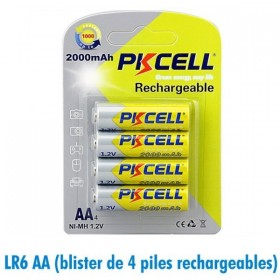 Piles rechargeables AA LR06 2000mAh 1.2V PKCell