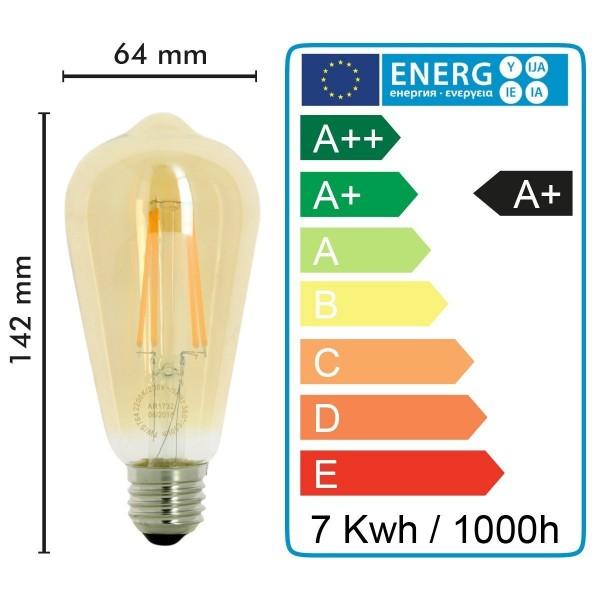 AMPOULE E27 7W ST64 2200K Type Edison