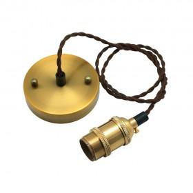 Suspension métal dorée E27 RETRO CHIC cable textile