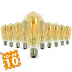Lot de 10 AMPOULES E27 7W ST64 2200K Type Edison