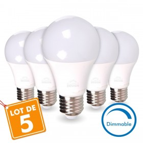 LOT de 5 AMPOULES LED E27 13W DIMMABLE Eq 75W