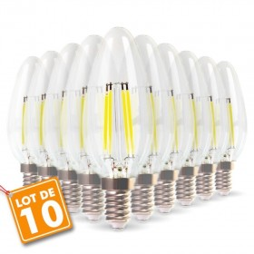 Lot de 10 Ampoules Filament E14 4w eq 40W