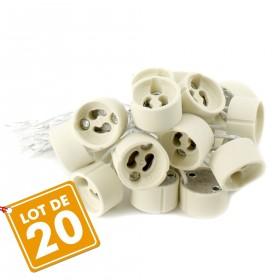 Lot de 20 douilles GU10 pour ampoule halogène et LED
