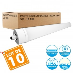 Lot de 10 Reglettes Interconnectables LED Etanche