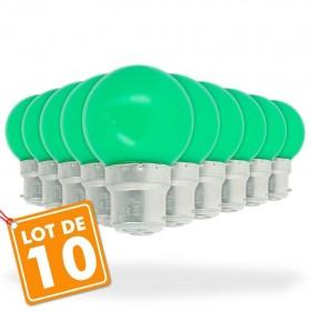 Lot de 10 B22 Verte 1W