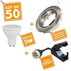 Lot de 50 spots orientable Acier Brossé complet LED 5W eq 40W