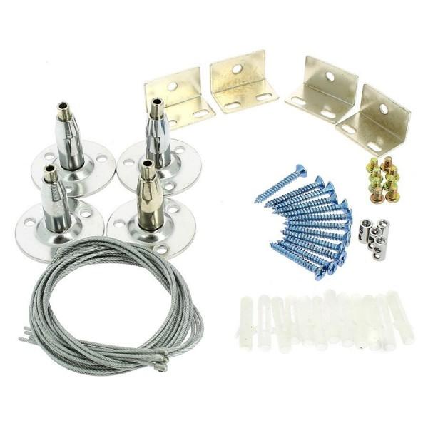 KIT SUSPENSION pour DALLES LED 4 câbles 1mètre + fixations