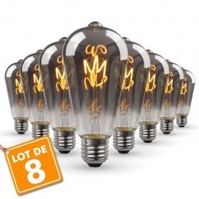Lot de 8 Ampoules LED E27 ST64 Smoky Filament Déco Vintage