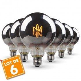 Lot de 6 Ampoules LED E27 G95 Smoky Filament
