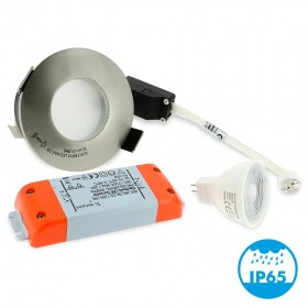 Spot LED encastrable Acier Bossé IP65 82mm GU5.3 230V 5W