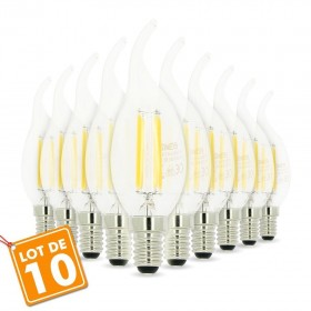 Lot de 10 Ampoules Led Flamme E14 4W filament