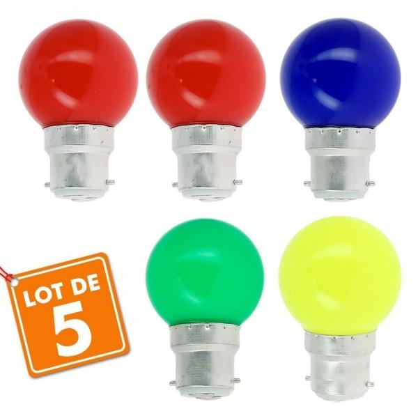 Lot de 5 Ampoules B22 Blister Panaché Guirlande guinguette extérieur