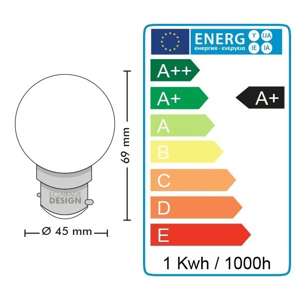 Blister 5 Ampoules Led Blanc Chaud équivalent à 10 watt Guirlande Guinguette