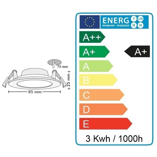 Spot Encastrable LED Panel Extra-Plat 3W
