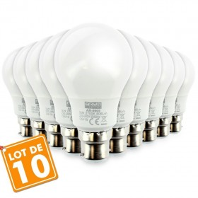 Lot de 10 Ampoules LED B22 9W eq 60W 806lm