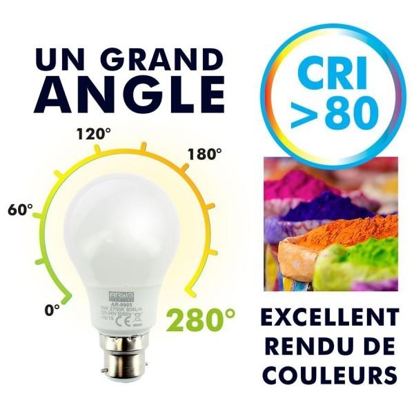 Lot de 10 Ampoules LED B22 9W eq 60W 806lm