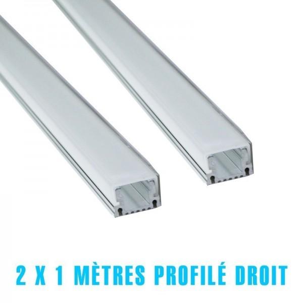 2 x 1 mètre profilé aliminium carré diffuseur opaque pour ruban led