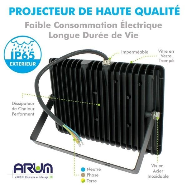 Projecteur LED ATRIA 50W NOIR IP65 extérieur