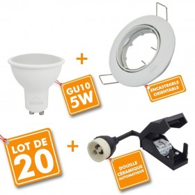 Lot de 20 spots encastrable orientable complet LED 5W eq 40W