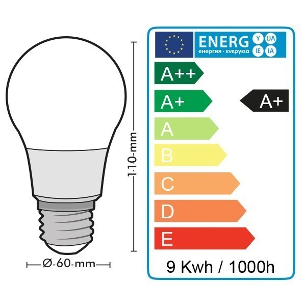 Lot de 10 Ampoules LED E27 9W eq 60W 806lm
