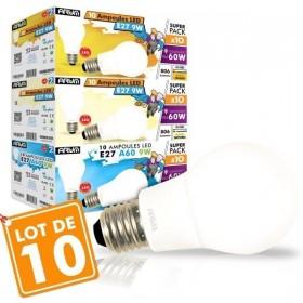 Lot de 10 Ampoules LED E27 9W eq 60W 806lm