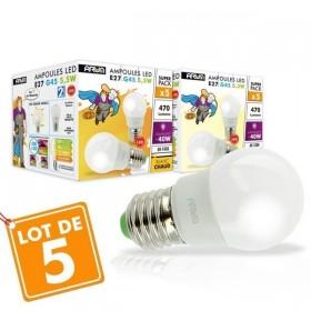 Lot de 5 Ampoules LED E27 G45 boule 5.5W Rendu 40W