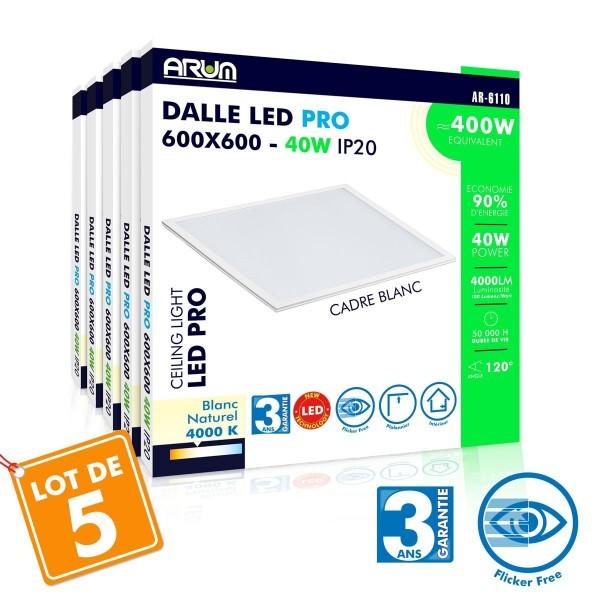 Lot de 5 Dalles LED Pro 40W