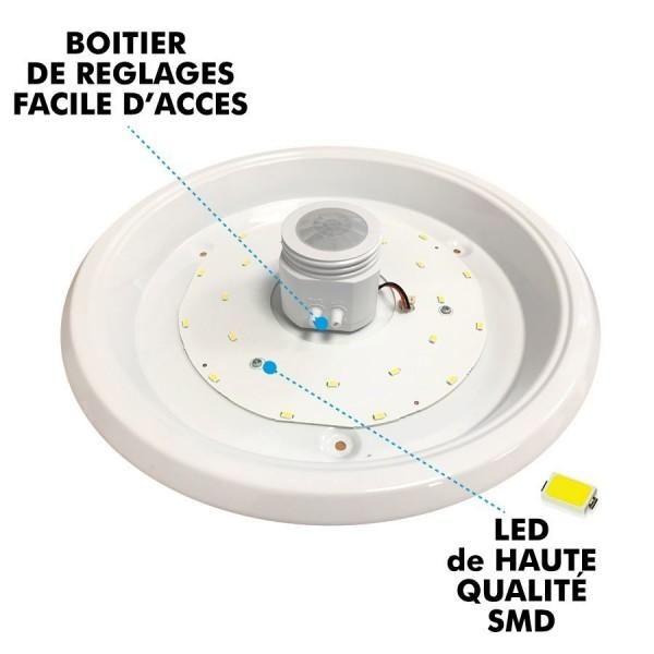 Plafonnier détecteur de mouvement IP20 12W LED CLARK Blanc naturel