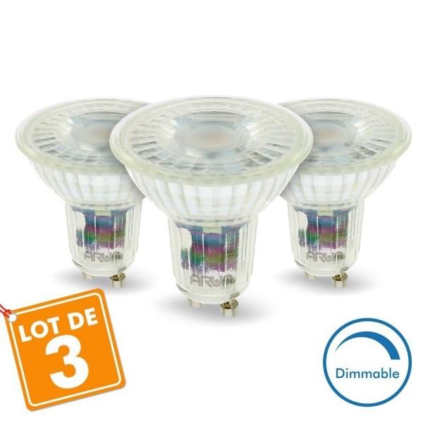 Lot de 3 Ampoules LED GU10 5W Dimmable 420 Lm Eq 50W