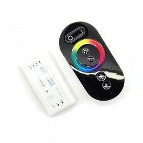 Controleur LED RGB 12/24V 18A télécomande radio tactile noire